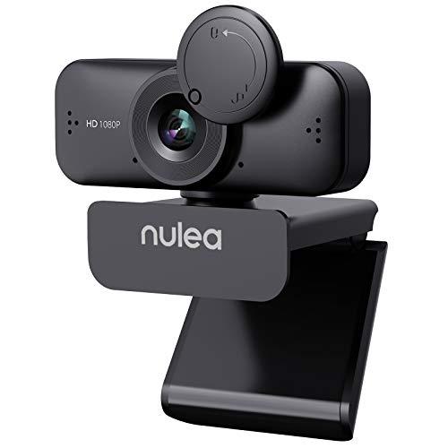Nulea C902 Webcam mit Mikrofon für PC/Laptop, HD 1080P Webcam mit Abdeckung für Video Streaming, Online-Unterricht, Konferenz, Funktioniert mit Skype, Zoom, Facetime - Schwarz
