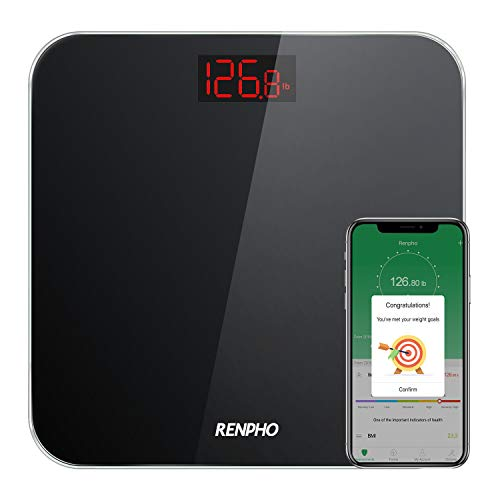 RENPHO Bluetooth Bathroom Scale Digital Weight with BMI, Smart Weighing Body Scale with Easy-to-Read Backlit LED & Smartphone App, Sturdy Tempered Glass, 400 lbs, Black
