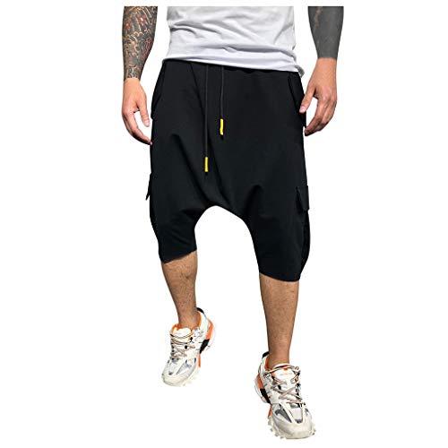 Hombre Pantalones Harem - Pantalones Cortos 3/4 Cómoda Cintura Elástica Pantalones con Cintura Moda Color Sólido Sueltas Casuales Yoga Hippies Pantalon Bombachos Yvelands(Negro,XL)