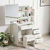 Vanity Set With Lighted Mirror Cushioned Stool Dressing Table Makeup Dess and Stool Dressing Set (One Size, White)