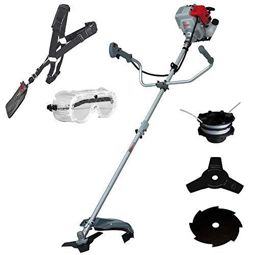 IKRA tagliaerba decespugliatore a benzina IBF 31-4 incl. bobina di filo, 2 lame per sterpaglie, tracolla e occhiali protettivi