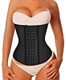 YIANNA Waist Trainer Corset for Weight Loss Latex Colombiana Waist Cincher Slimming Hourglass Body Shaper, Size 2XL (Black)