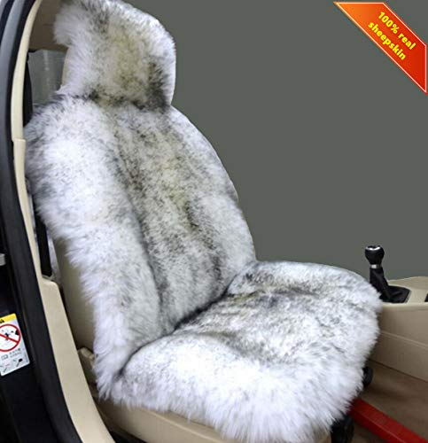 Sisha Winter Warm Authentic Australia Sheepskin Car Seat Cover Luxury Long Wool Front Seat Cover Fits Most Car, Truck, SUV, or Van (Grey Tips)