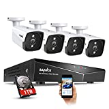 【New 2020】 SANNCE POE Security Camera System for 24/7 Recording, 4X5MP(2560TVL) XPOE Indoor Outdoor Security Cameras with 5MP DVR, 100FT Night Vision, Free Phone App&PC Remote, 1TB Hard Drive