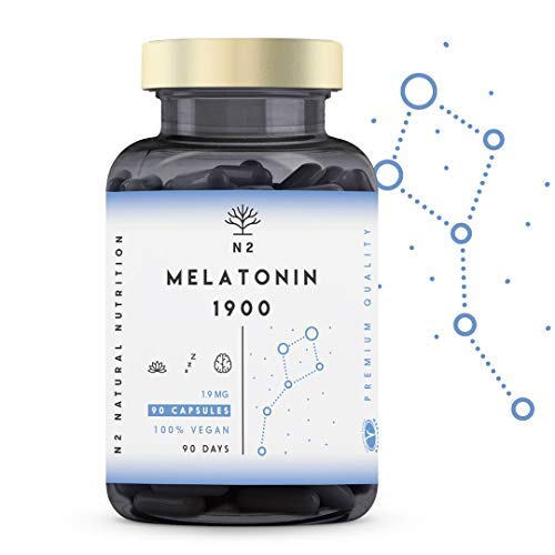 N2 Natural Nutrition Melatonina Pura 1,9 mg, 5HTP Griffonia, Vitamina B6. Alta Dosis....