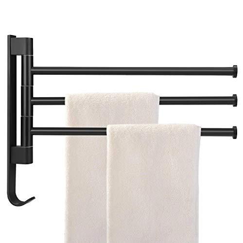 Handtuchstange ohne Bohren Handtuchhalter 3 Arme Badetuchhalter Aluminium Wandmontage Halterung 180° Drehbar für Hause Büro Shop Restaurant [Schwarz]