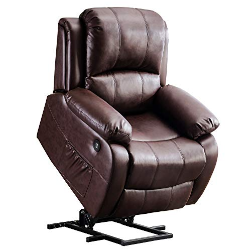 Mcombo Small Sized Electric Power Lift Recliner Chair Sofa with Massage and Heat for Small Elderly People Petite, 3 Positions, 2 Side Pockets, USB Ports, Faux Leather 7409 (Small, Dark Brown)