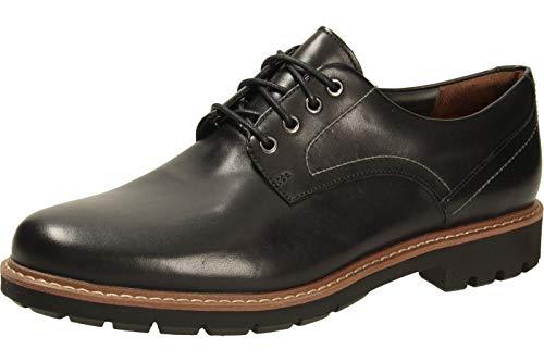 Clarks Batcombe Hall Derby - Zapatos de Cordones para Hombre, Negro (Black Leather), 44.5 EU