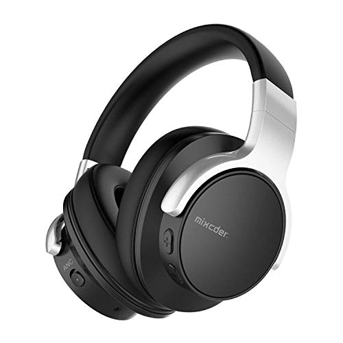 Mixcder E7 Auriculares con cancelación de ruido activa, Bluetooth 5.0, inalámbricos, con graves profundos Hi-Fi, 30 horas de reproducción, carga rápida, micrófono CVC8.0 para