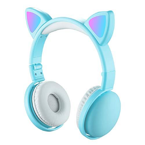 Btuty led fones de ouvido com orelha de gato cor rgb bt 5. 0 fones de ouvido com cancelamento de ruído dobrável adultos crianças fone de ouvido com microfone