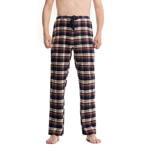 Piero Lusso Men's 100% Cotton Poplin Woven Lounge Sleep Pajama Pants Boxers Plaid Sleepwear Blue Black White XL