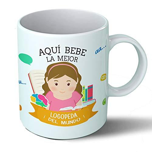 Planetacase Taza Desayuno Aquí Bebe la Mejor logopeda del Mundo Regalo Original logopedas Ceramica 330 mL