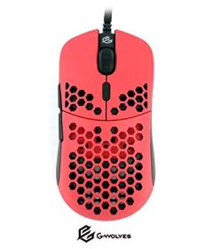 G-Wolves Hati HT-M 3360 Ultra Lightweight Honeycomb Shell Wired Gaming Mouse up to 12000 cpi - 6 Buttons - 2.18 oz (61g) (Stiletto Red)