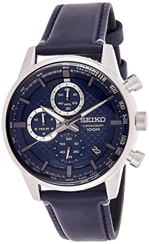 Seiko Herren Chronograph Quarz Uhr mit Leder Armband SSB333P1