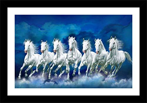 Shree Handicraft Acrylic Sheet Used Vaastu Home Decorative Seven White Running Horse Photo Frame for Home Decor (Multicolour, 14x 20 x 0.5 inch)