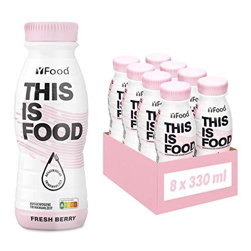 YFood Beere   Laktose- und glutenfreier Nahrungsersatz   22g Protein, 26 Vitamine und Mineralstoffe   Leckere Astronautennahrung - 17% des Kalorienbedarfs   Trinkmahlzeit, 8 x 330 ml (1 kcal/ml)