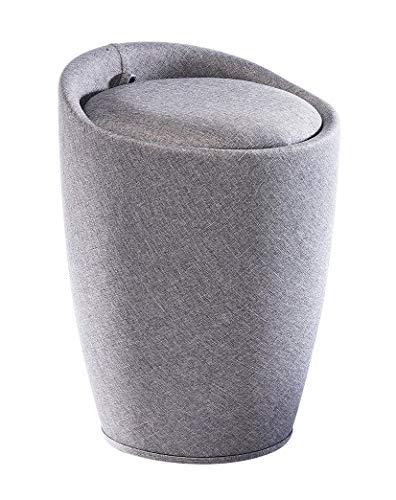 Kobolo Wäschesammler Badhocker - hellgrau - Textilcover - gepolsterte Sitzfläche - 36x36x50 cm
