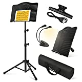 Donner Sheet Music Stand with Light, DMS-1 Portable Metal Music Stand, Tabletop Music Book Stand for Guitar, Ukulele, Violin Players