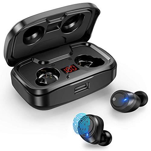Ecouteur Bluetooth, Écouteurs sans Fil Bluetooth 105 Heures Lecture avec Hi-FI Stéréo Mic, Oreillette sans Fil Etanche USB-C Etui de Charge Couplage Automatique pour Android iPhone (Noir-2)