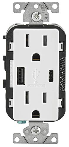 Leviton T5633-W 15-Amp Type A & Type-C USB Charger/Tamper Resistant Outlet, Compatible with Apple Devices, Samsung Devices, Google Devices and More  Not for Laptops, White