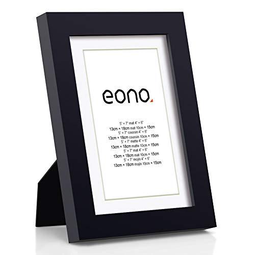 Eono by Amazon - 13x18 cm Bilderrahmen Hergestellt aus Massivholz und Hochauflösendem Glas für Bildformate 10x15 cm mit Passepartout oder 13x18 cm ohne Passepartout Wandhängend Fotorahmen Schwarz