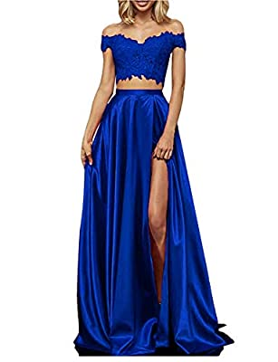 Feature: Sexy Lace Sweetheart Neck,Build in Bra,Off the Shoulder Sleeves,Corset Lace Up Back,Two Piece A-Line,Floor-Length With Train. Style: Vintage Long Two Piece Lace Satin Prom Dresses with Slit Makes You Very Elegant and Fashion. Occasion:Two pi...