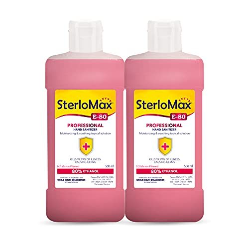 SterloMax 80% Ethanol-based Hand Rub Sanitizer and Disinfectant 500 ml -Pack of 2