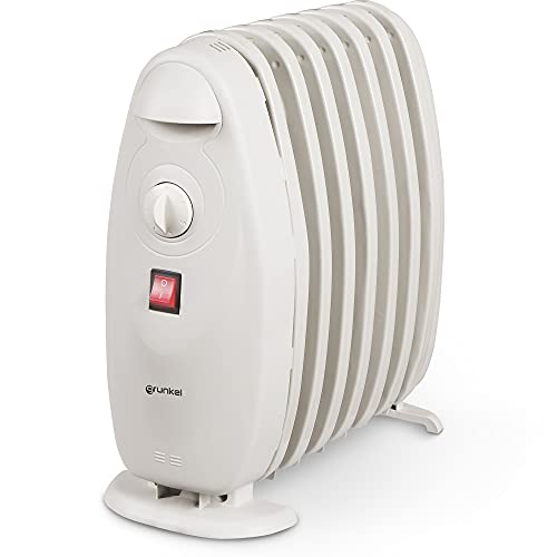 Grunkel - RACP-80D - Radiador Calentador de Aceite pequeño y portatil de hergonomía eficiente. Termostato Regulable de 6 Niveles para bajo Consumo con 7 Elementos - 800W - Blanco