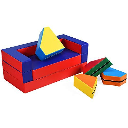 COSTWAY Sofa Divano da Gioco per Bambini, Gioco Puzzle Componibile 4 in 1, Morbido e Impermeabile, 141 x 94 x 12 cm (Blu-Rosso)
