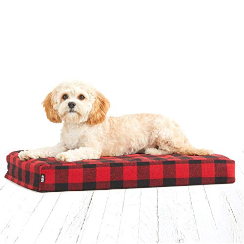 """BarkBox Orthopedic Memory Foam Dog Bed with Free Toy; Multiple Sizes/Colors; Joint-Relief; Machine Washable Cover; Waterproof Lining (Small Mattress Sheet - 24"""" x 16"""" x 3"""", Red Buffalo Check)"""