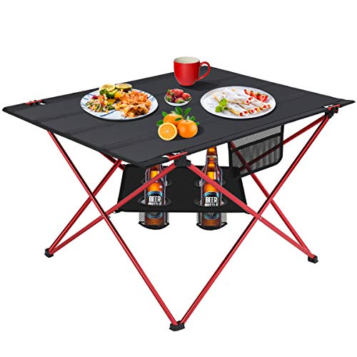 MOVTOTOP Folding Camp Table, 2 Tier Portable Camping Table with 4...