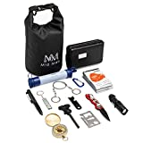 Mid Mab Survival Kit (12-Piece Set) Ultimate Tactical Gear | Camping | Hiking | Emergency | Water Filter Straw, Knife, Flashlight, Fire Starter, Compass, Wire Saw, Dry Bag