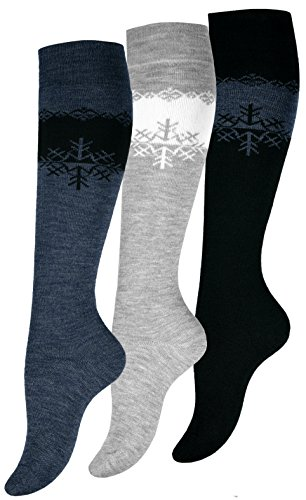 3 paia di calze termiche al ginocchio, in lana, da donna, calze di alta qualit multicolore 3 Paar...