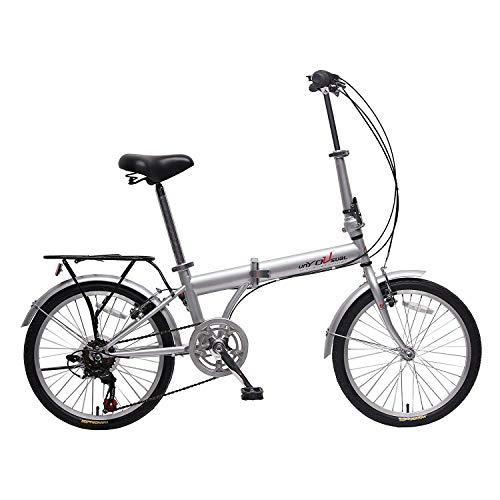 IDS unYOUsual U Transformer 20' Folding City Bike Bicycle 6 Speed Shimano Gear Steel Frame Mudguard Rear Carrier Front Rear Wheel Reflectors Silver