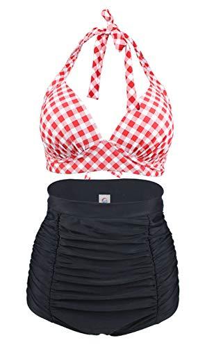 LA ORCHID Rockabilly - Conjunto de bikini, Top de cuello halter con copas moldeadas y sin aros, Pantalones cortos de cintura alta con control de barriga para mujer [40] Rojo Y Blanco.
