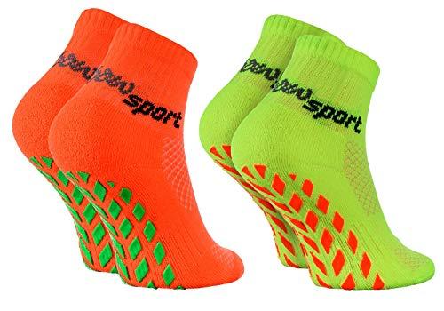Rainbow Socks - Ragazza Ragazzo Neon Calze Sportive Antiscivolo - 2 paia - Arancione Verde - Taglia 30-35
