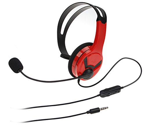 AmazonBasics Gaming Chat Headset for PlayStation 4 with Microphone - 4 Foot Cable, Red