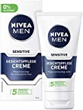 Crema facial Nivea Men Sensitive, crema hidratante para hombres con piel sensible, crema facial calmante, 75 ml