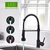 GIMILI Black Kitchen Faucet with Sprayer Commercial Single Handle Pull Down Sprayer Spring Kitchen Sink Faucet with LED Light