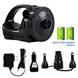 Etekcity Electric Air Pump Rechargeable Portable Air Mattress Pump Quick-Fill Inflator Deflator for Inflatables Raft Bed Boat Pool Floats Toy with 3 Nozzles, 100-240V AC &12V DC Adapter