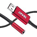 ENVEL Adaptateur Audio stéréo USB vers Jack 3,5 mm, TRRS 4 pôles avec Micro Externe pour Casque Audio stéréo PS4, PC, Ordinateur Portable, Ordinateur de Bureau, Haut-Parleur boîtier en métal tressé