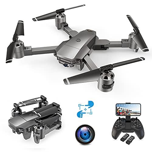 A15F - Drone con telecamera 1080P, posizionamento di flusso ottico, FHD 120 grandangolo, monitora me, controllo vocale e gesti, facile da pilotare, autonomia 24 minuti
