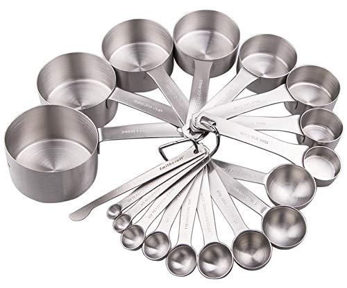 Lucky Plus Stainless Steel Measuring Cups and Spoons Set 18/8(304) Steel Material Heavy Duty 8 Measuring cups and 9 Measuring Spoons Pack 17pcs Per set