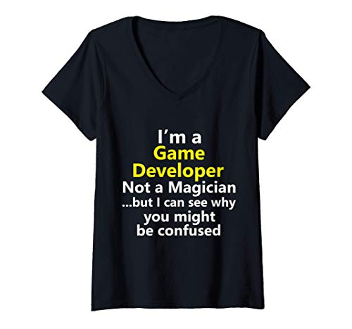 Womens Funny Game Developer Mobile App Video Indie Designer Gift V-Neck T-Shirt