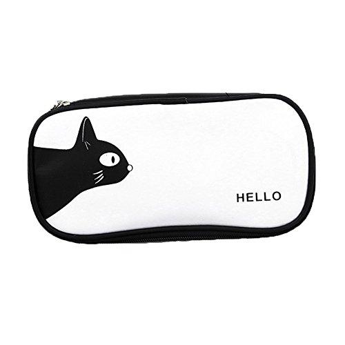 Drawihi Astuccio per matite o caso di trucco - Gatto (Nero) - 22 * 11 * 5cm