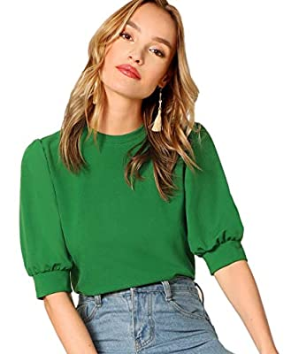 """Runs Small, One Size Up Recommended This casual blouse is great for a vintage and elegant look with jeans, skirt, pants, high heels, etc. Occasion: work, office, business, vacation, shopping or just daily wear Model Measurements: Height: 176cm/69.3"""",..."""
