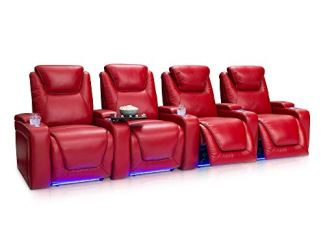 Seatcraft Equinox Home Theater Seating Power Recline Leather (Row of 4, Red)