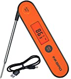 Inkbird Waterproof Instant Read Thermometer IHT-1P, Rechargeable Battery, Digital BBQ Meat Thermometer, Cooking Food Thermometer, Calibration, Magnet, Backlight for Grill,Smoker, Kitchen, Oven, Candy