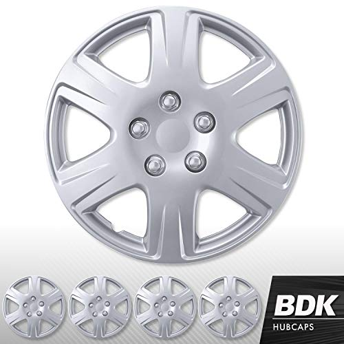 BDK (4 Pack of Premium 15' inch Hubcap Wheel Cover Replacements for OEM Steel Wheels, High Grade ABS with Retention Ring