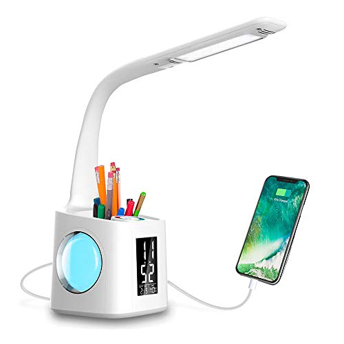 Wanjiaone Study LED Desk Lamp with USB Charging Port&Screen&Calendar&Color Night Light, Kids Dimmable LED Table...